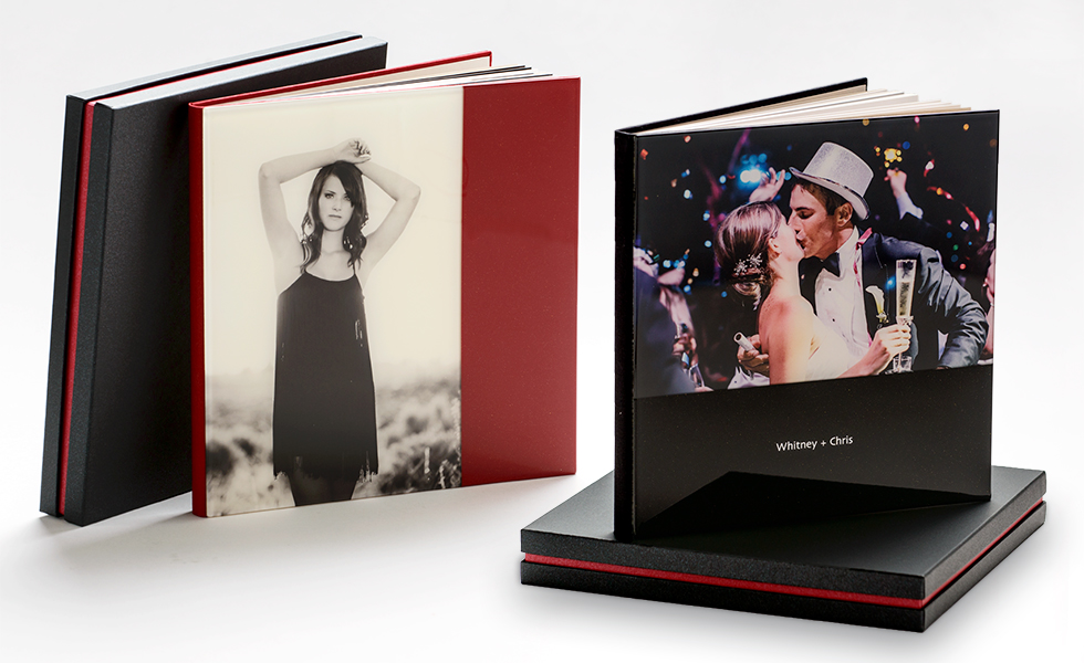 AsukaBook Cosmopolitan Photo Album Semi-Designable Hard Cover with Choice of Vertical or Horizontal Layout in Red or Black Color Block