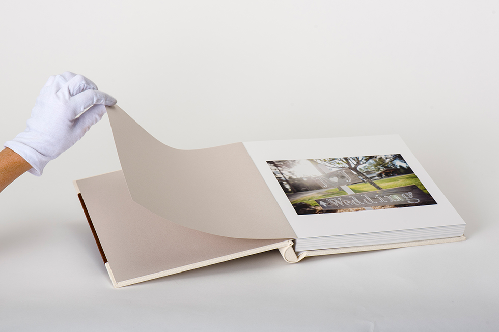 AsukaBook Heirloom Photo Album Showing taupe paper inside the album cover