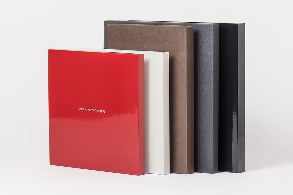 AsukaBook Zen Layflat EX Photo Book The case color options for the Zen EX - red matte, red glossy, ivory pearl, chocolate pearl, black pearl, black glossy, and black matte