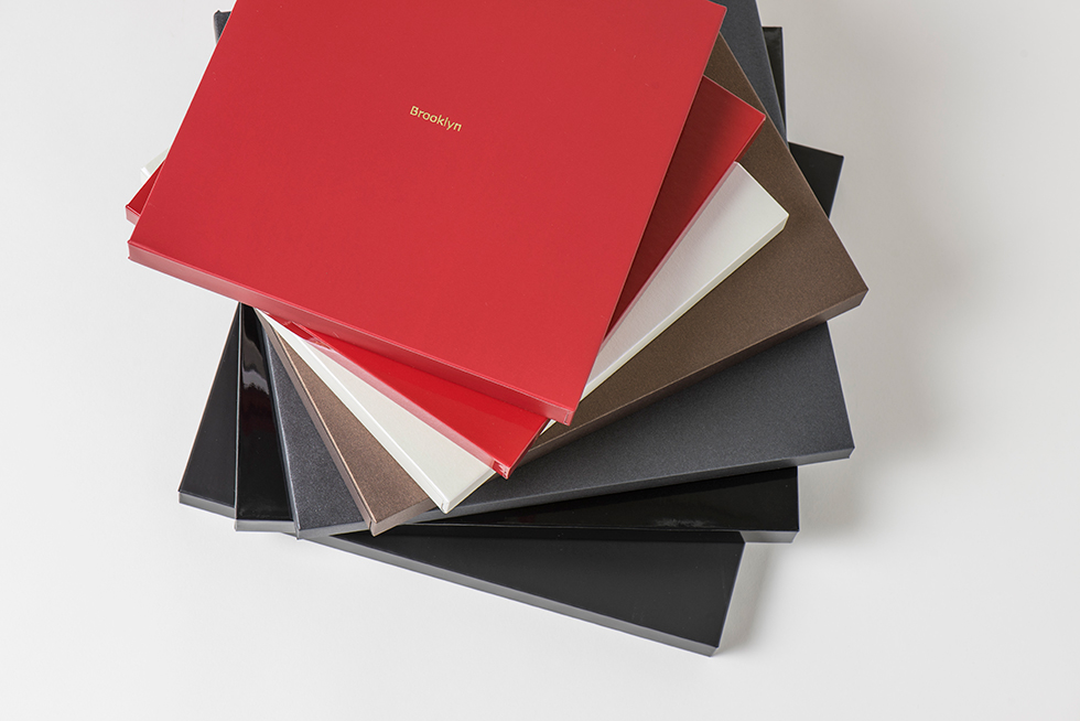 AsukaBook Zen Layflat EX Photo Book Slide-In Case in five different colors with optional Gold or Silver Hot Stamp Text
