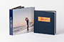 8x8 album with navy linen cover and printed box